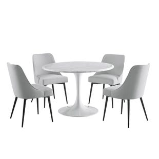 Colfax Round Marble 5 Piece Dining Set White with Stone