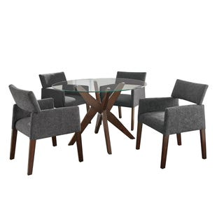 Amalie Glass/Brown/Gray 5 Piece Dining Set