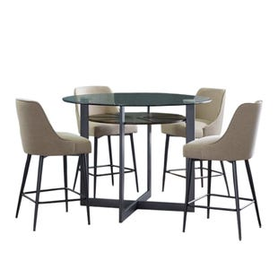 Olson Round Glass 5 Piece Counter Height Dining Set