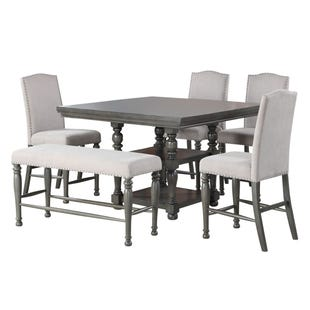 Caswell Gray 6 Piece Square Counter Height Dining Set