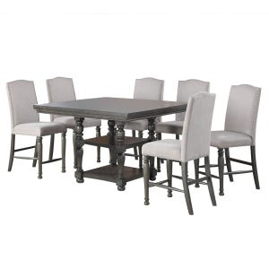 Steve Silver Caswell Gray 7 Piece Counter Height Set