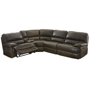Rollins Chocolate Top Grain Leather Power Sectional