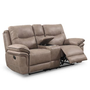Isabella Reclining Console Loveseat Sand