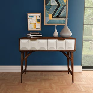 Ginny White Walnut Console Table