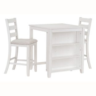 Allen 3 Piece White Counter Dining Set