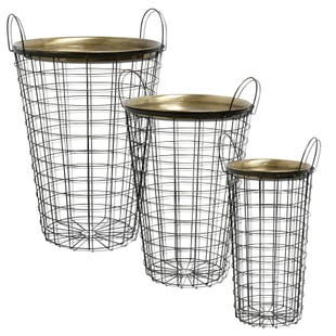 Brass Plated Tray Top Nesting Wire Baskets - S/3