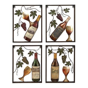 Metal Square Wine Decor