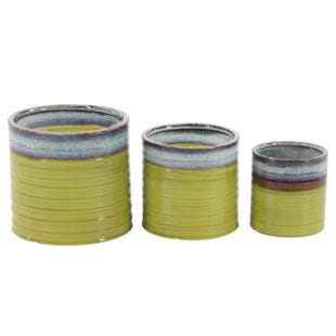 Green 3 Piece Ceramic Garden Planter Set
