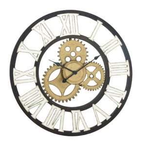 Gold and White Metal Gear Wall Clock