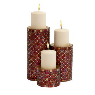 3 Piece Mosiac Candle Holder Set