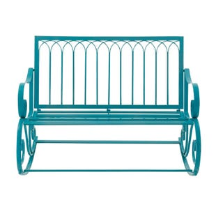 Naples Blue Metal Rocking Garden Patio Bench