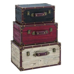3 Piece Wood Trunk Set
