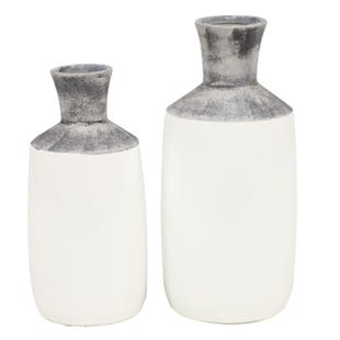 2 Piece M/L Gray & White Vase Set