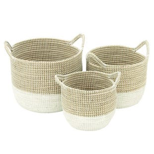 Seagrass Large Two-Toned Woven Basket