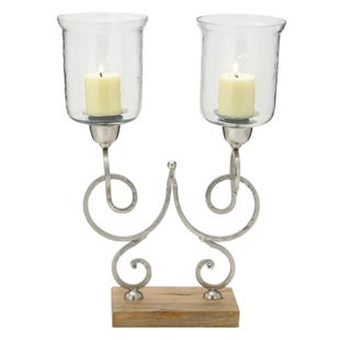Double Metal and Glass Candle Holder