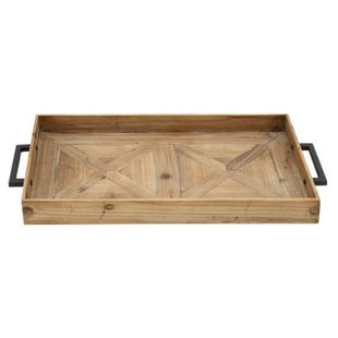 Farmhouse Rectangle Wood & Metal Tray