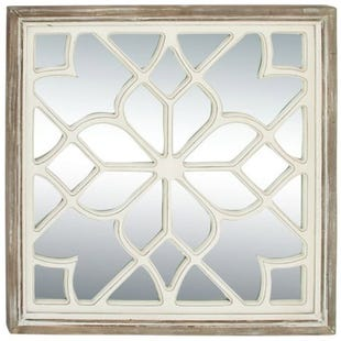 Louise Farmhouse White Wooden Lattice Mirror
