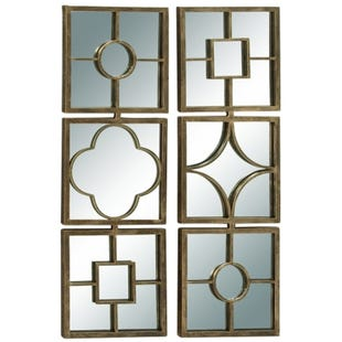 Claudia Gold Metal Lattice Mirror Wall Decor