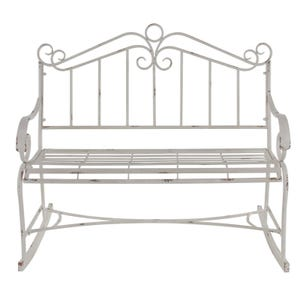 Charlotte White Metal Rocking Garden Bench