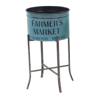 Farmer's Market Blue Large Metal Garden Planter