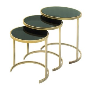 3 Piece Gold and Black Nesting Table Set