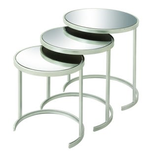 3 Piece Mirror and Silver Nesting Table Set