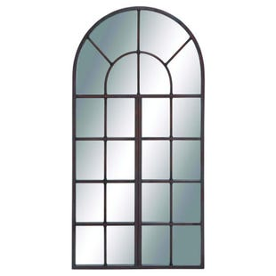 Madeline Metal & Wood Window Wall Mirror