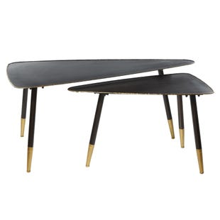 Set of 2 Black Modern Accent Tables