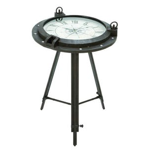 Metal Clock Accent Table
