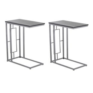 2 Piece Espresso C-Accent Table Set