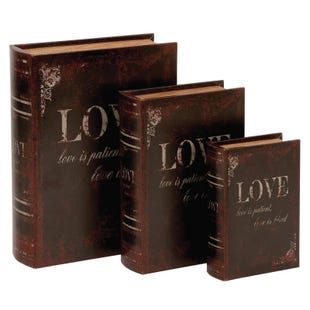 Faux Leather Love 3 Piece Storage Box Set
