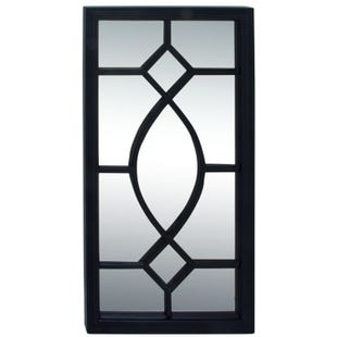 Eleanor Black Wood Diamond Lattice Wall Mirror