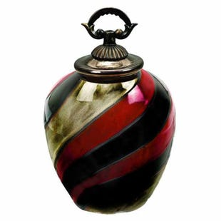 "Red, Gold and Black 12"" Vase"