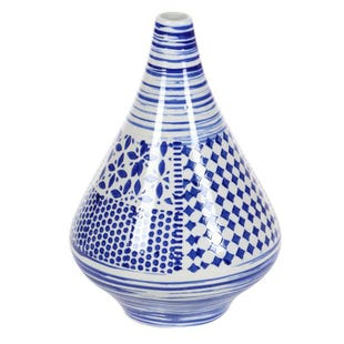 "Blue and White 13"" Ceramic Vase"