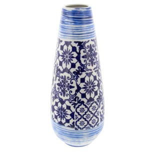 "Blue and White 20"" Ceramic Vase"