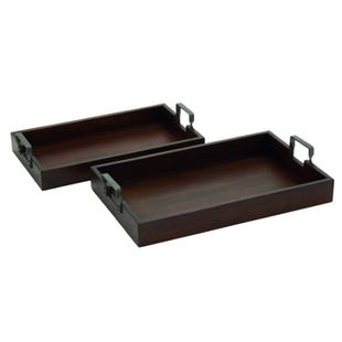 Wooden 2 Piece Tray Set With Metal Handles
