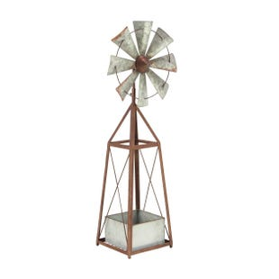 Galvanized Windmill Planter