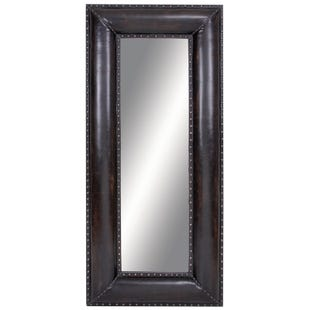 Wood Faux Leather Mirror