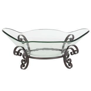 Traditional Metal Glass Bowl Centerpiece