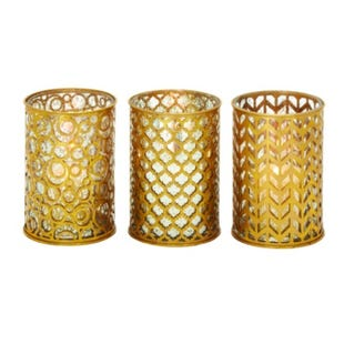 Polished Gold Assorted Metal Candle Holder