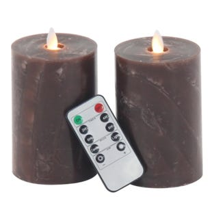 2 Piece Flicker Toffee Candle Set with Remote