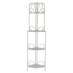 Claire White Metal Indoor or Outdoor Corner Planters Rack