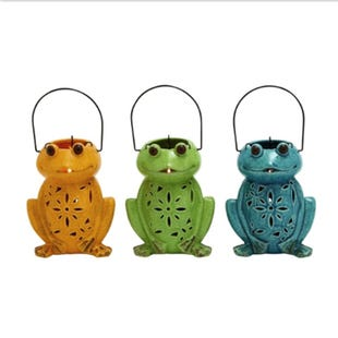 Assorted Ceramic Frog Lanterns