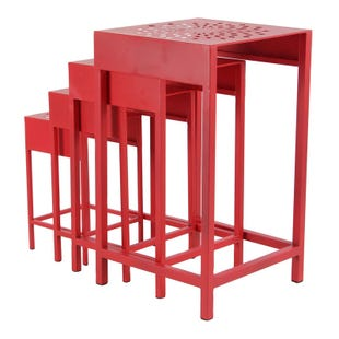 Crimson Red Set of 4 Plant Stands