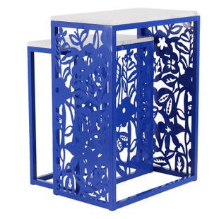 Cobalt Set of 2 Indoor/Outdoor End Tables with Marble Top