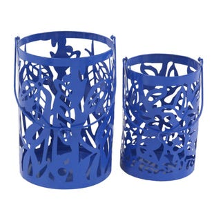 Blue 2 Piece Metal Lantern Set