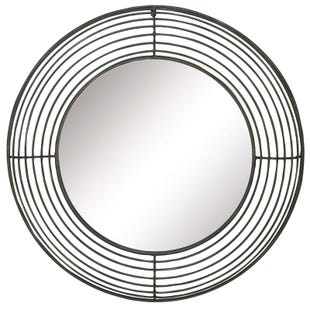 Metal Slat Round Wall Mirror