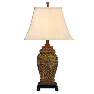 Toby Bronze Carved Table Lamp
