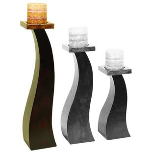 Brown Abstract Wood Candle Holder Large