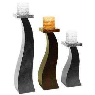 Brown Abstract Wood Candle Holder Medium